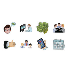Business conference and negotiations icons in set vector