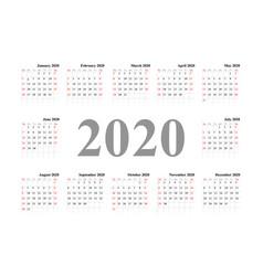 calendar 2020 pocket basic grid vector image