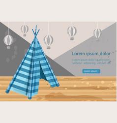 Camp tent hovel tent-hut for children s vector