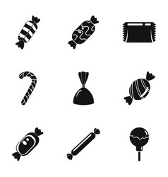 Candy icon set simple style vector