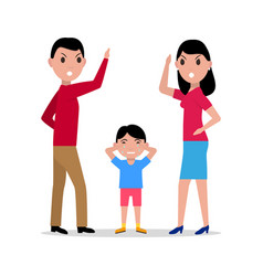 cartoon angry parents swearing child vector image