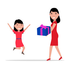 Cartoon mother giving daughter a present vector