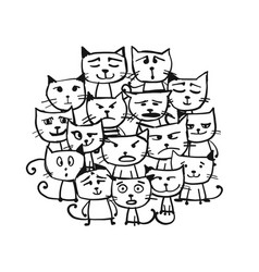 cats family sketch for your design vector image