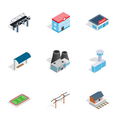 city buildings icons isometric 3d style vector image