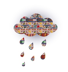 Cloud with raindrops and with tribal ornaments vector