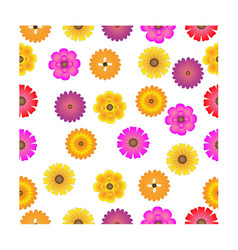 colorful flower seamless pattern design on white vector image