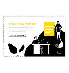 consulting services - flat design style web banner vector image