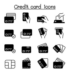 Credit card debit card payment shopping icons set vector