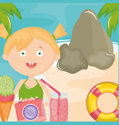 cute little girl with swimsuit and camera on the vector image