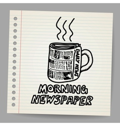 Doodle style newspaper coffee cup vector