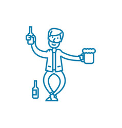 drinking alcohol linear icon concept drinking vector image