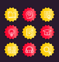 Education learning linear icons badges vector