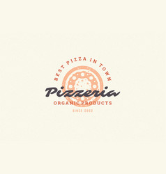 engraving logo pizza silhouette and modern vintage vector image
