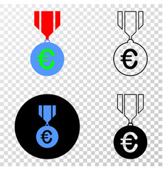 euro medal eps icon with contour version vector image