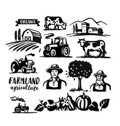 farming theme elements for design farmer cows vector image