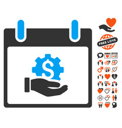 Financial development hand calendar day icon with vector