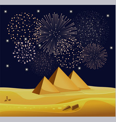Firework show over egyptian pyramids in the vector