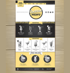 flat cocktail menu concept web site design vector image