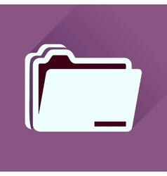 Flat icon with long shadow documents folder vector image