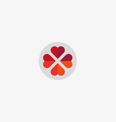 four hearts social symbol heart cross vector image