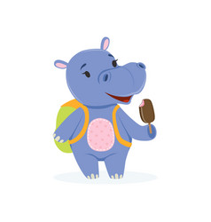 Funny baby hippo character with backpack eating vector