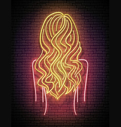 glow beautiful woman silhouette with wavy blond vector image
