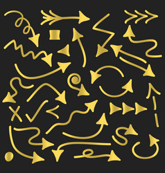 golden funky direction arrows signs icons set vector image