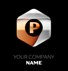 golden letter p logo symbol in the hexagonal shape vector image