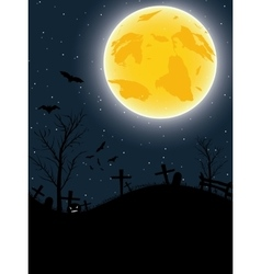 Halloween card with pumpkin bats and big moon vector image
