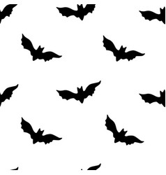 Halloween pattern with black bats on white vector