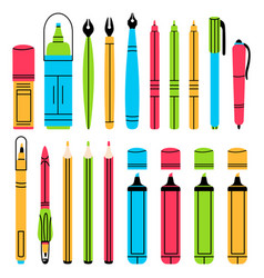 hand drawn office stationery pens pencils vector image