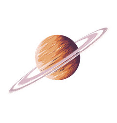 hand drawn sketch planet saturn in color vector image