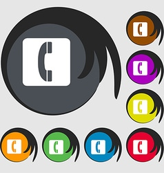 handset icon sign Symbol on eight colored buttons vector image