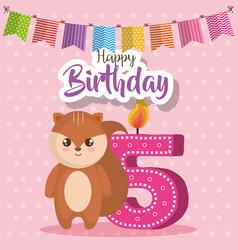 Happy birthday card with chipmunk vector