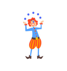 happy clown juggling with balls in circus show vector image