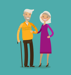 Happy elderly people or retired cartoon vector