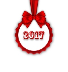 Happy New Year 2017 Card with Red Silk Ribbon and vector