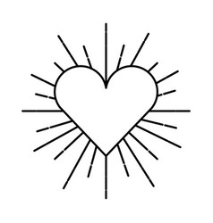 heart love sunburst icon vector image