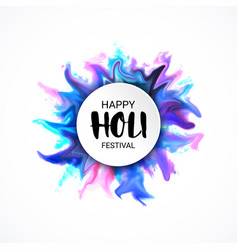 holi festival lettering banner with colorful vector image