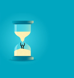 hourglass with businessman drowning inside vector image