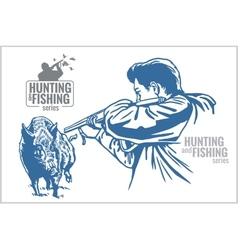 Hunter and boar - vintage vector image
