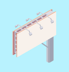 Isometric billboard with blank canvas for outdoor vector