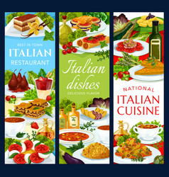italian cuisine italy dishes banners set vector image