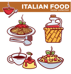 italian food collection best traditional vector image