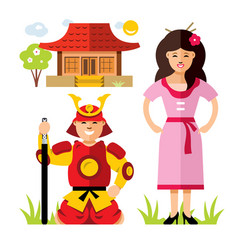 japan samurai flat style colorful cartoon vector image