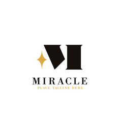 Letter m logo template with shine icon miracle vector