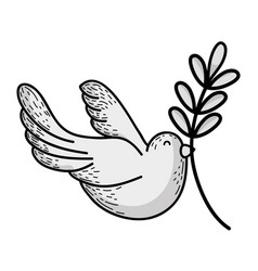 Line cute dove animal with branch to peace symbol vector