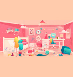 little girl messy bedroom cartoon interior vector image