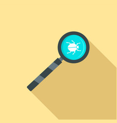 magnify glass computer virus icon flat style vector image