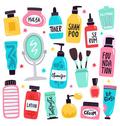 Makeup tools skincare routine cosmetic products vector